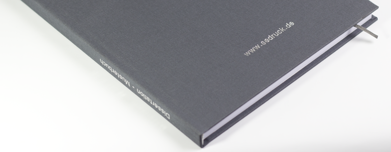Hardcover binding & embossing, shipped within 24h | sedruck.de