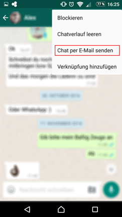WhatsApp Chat per E-Mail senden