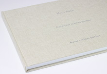 hand made book in linen natural, landscape