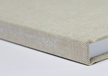 hand made hardcover, linen natural with silver stamping