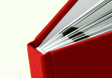 hand made hardcover book in red linen
