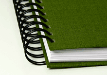hardcover ring binding in green linen